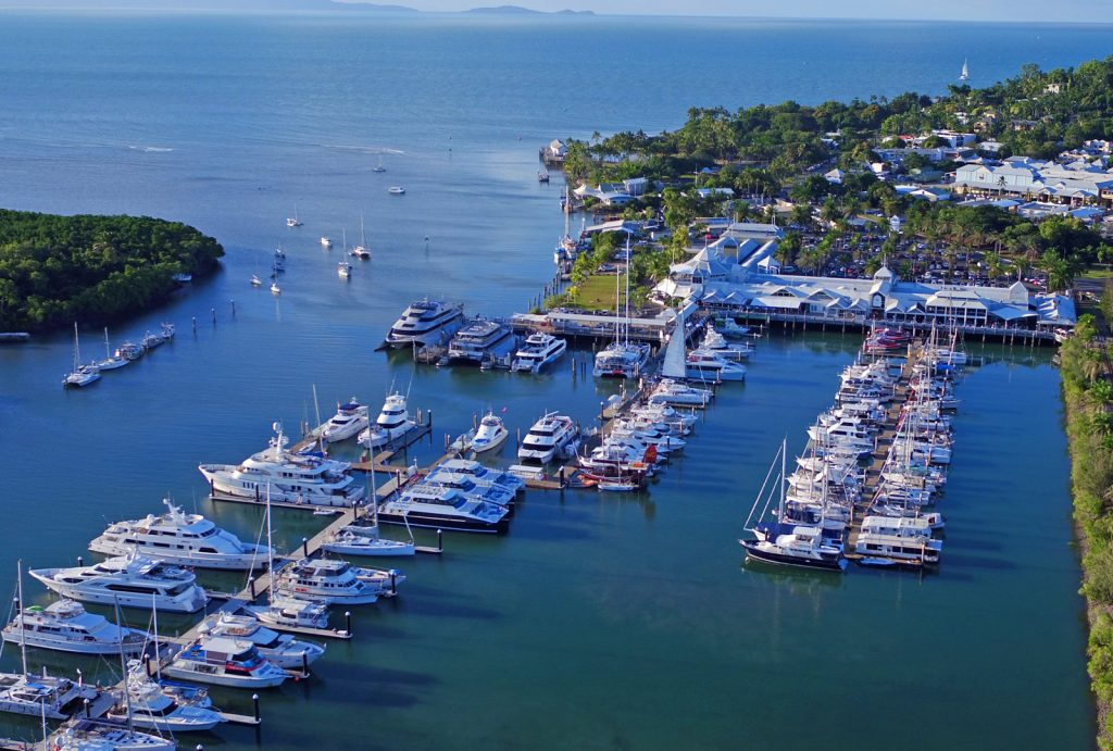 Arial photo of Crystalbrook Superyacht Marina Port Douglas