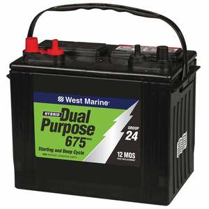 Dual purpose battery on a boat